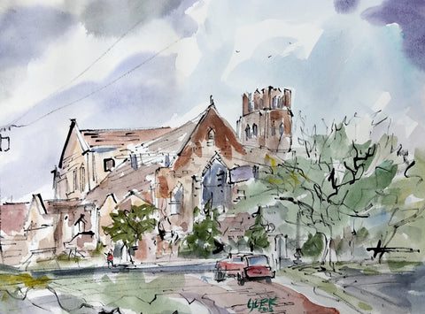 CHRIST CHURCH SPRING, Original Watercolor Painting by Texas Artist, John York,11 x 15 inches, unframed