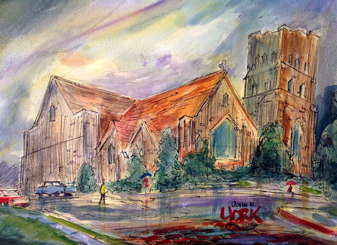 """Christ Episcopal Church, Rainy Day"",Original watercolor by Tyler, Texas artist, John Randall York 15 x 20 inches"