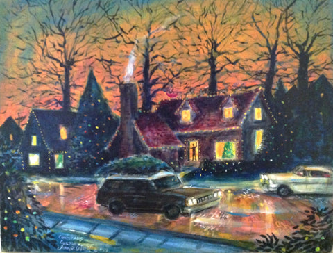 "Artist Signed Print ""Christmas On Chilton Avenue"", Texas Artist John York,11 x 17 inches Print on Paper"