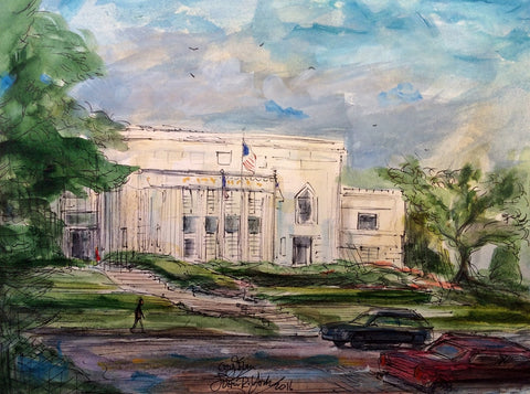 """Tyler, Texas City Hall"", Original Watercolor by Tyler Artist, John Randall York, unframed"