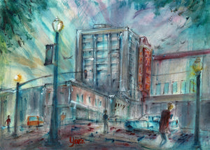Downtown North Broadway & West Erwin, by American Watercolor Artist John York, 11 x 15 inches, unframed