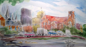 """Downtown Tyler,TX, September 12, 2016"" Original Watercolor Painting by York,13 x 22 inches"