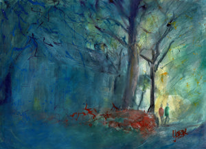 Artist Signed Print, Evening In The Azalea District, By American watercolor artist John York, 11 x 17 inches