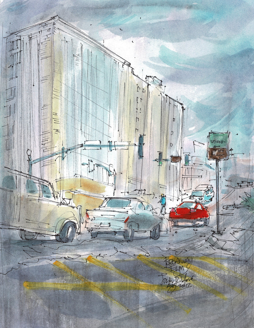 Fair Building Broadway and Elm, Texas Watercolor Artist John York, 11 x 15 inches, unframed