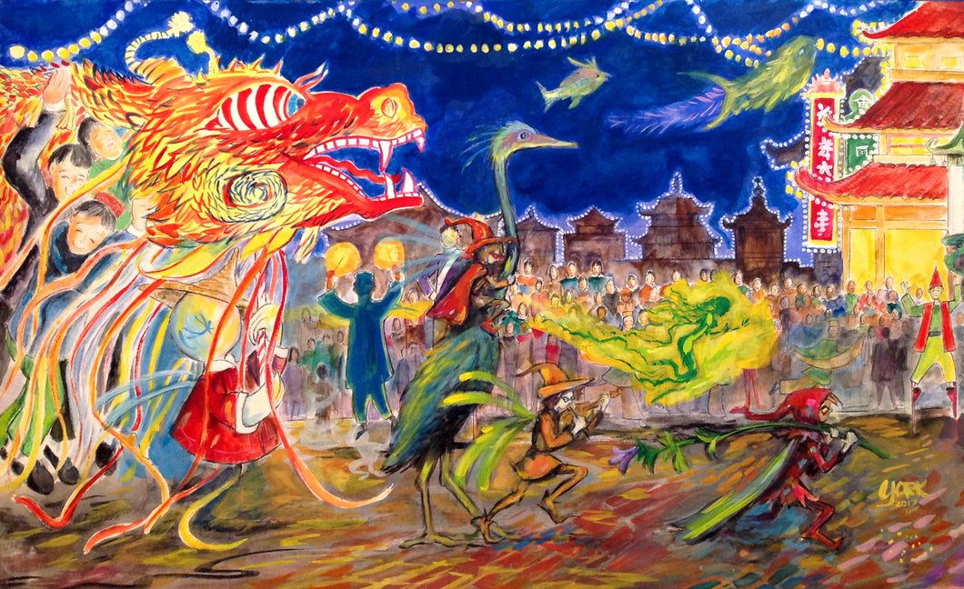 Fairy Parade, Original Painting by American Watercolor Artist John York, 14 x 24 inches