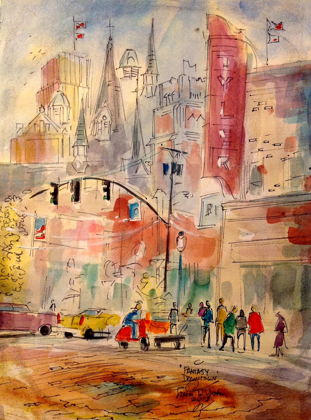 Fantasy Downtown Tyler, American Watercolor Artist, John York, 11 x 15 inches, unframed