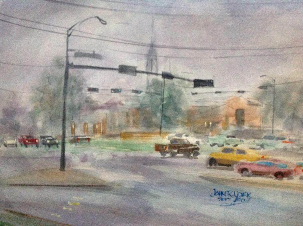 First Christian Church Foggy Morning by John York, Texas Watercolor Artist, 15 x 22 inches, unframed