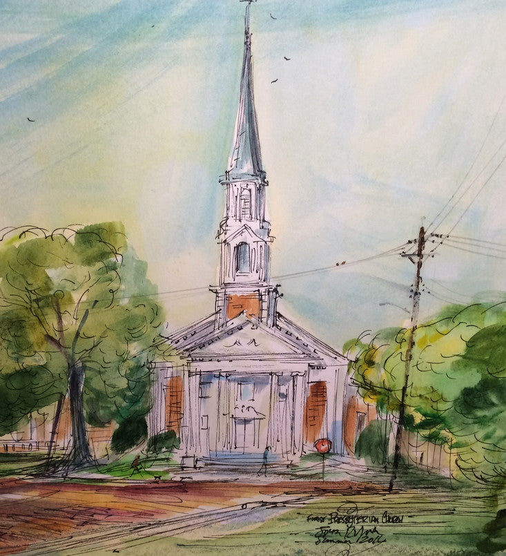 First Presbyterian Church, College and Rusk, Original by Watercolorist John York