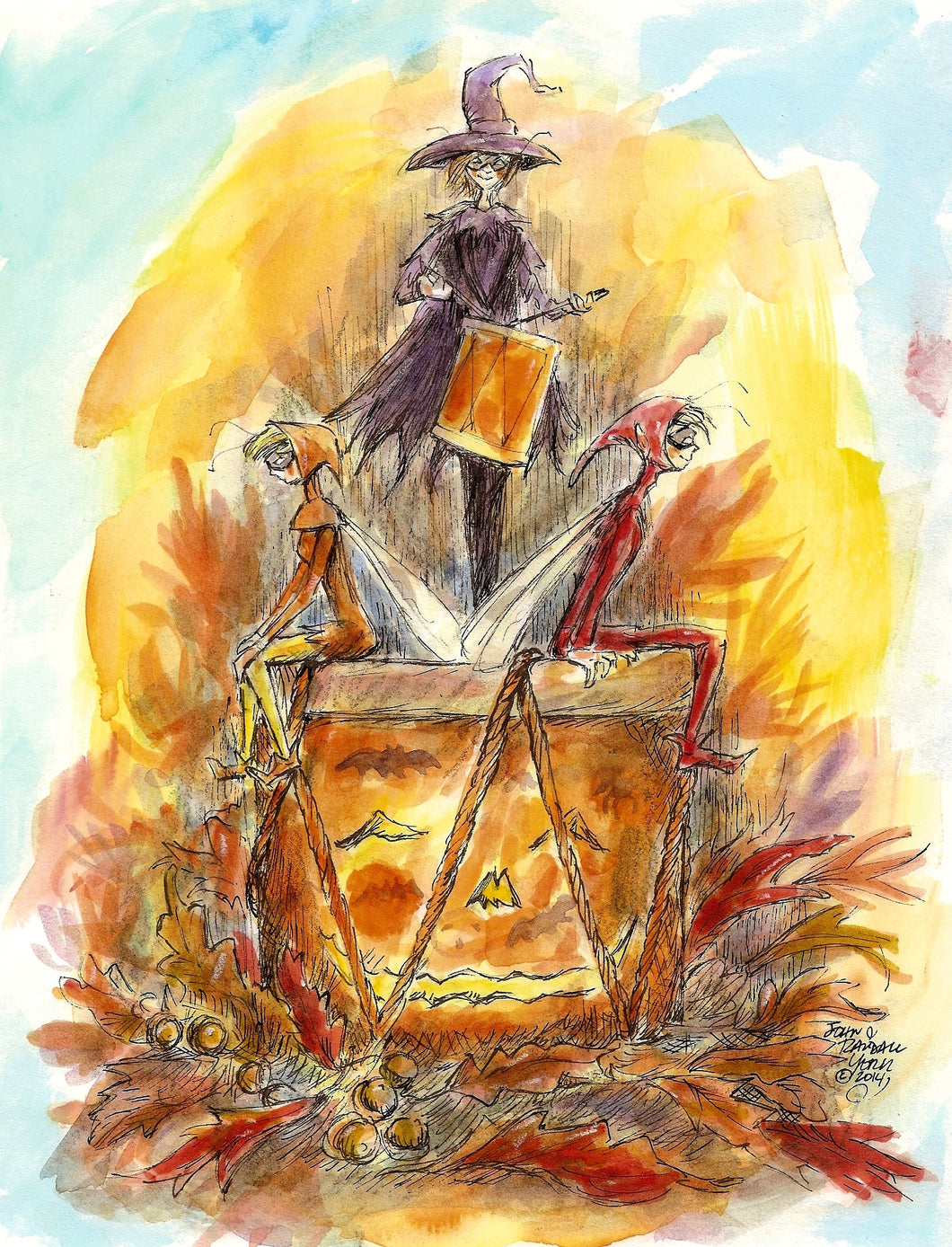 THE HALLOWEEN DRUM Watercolor  and Ink Original by John Randall York