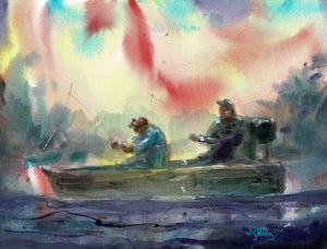 Harold and Roy On Lake Palestine, American Watercolor Artist John York, 11 x 15 inches, unframed