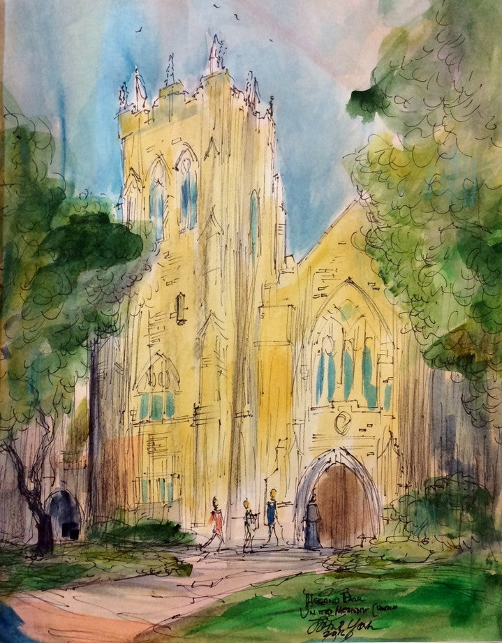 Highland Park United Methodist Church, Original Watercolor, Texas Watercolor Artist John York, 11 x 15 inches