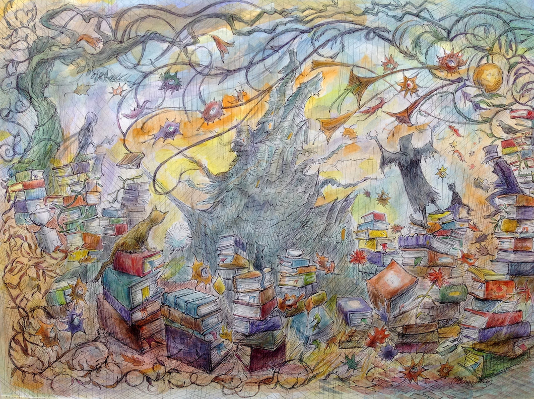 Lair of the Last Know-lt-All, By American Watercolorist John Randall York, 22 x 30 inches, unframed
