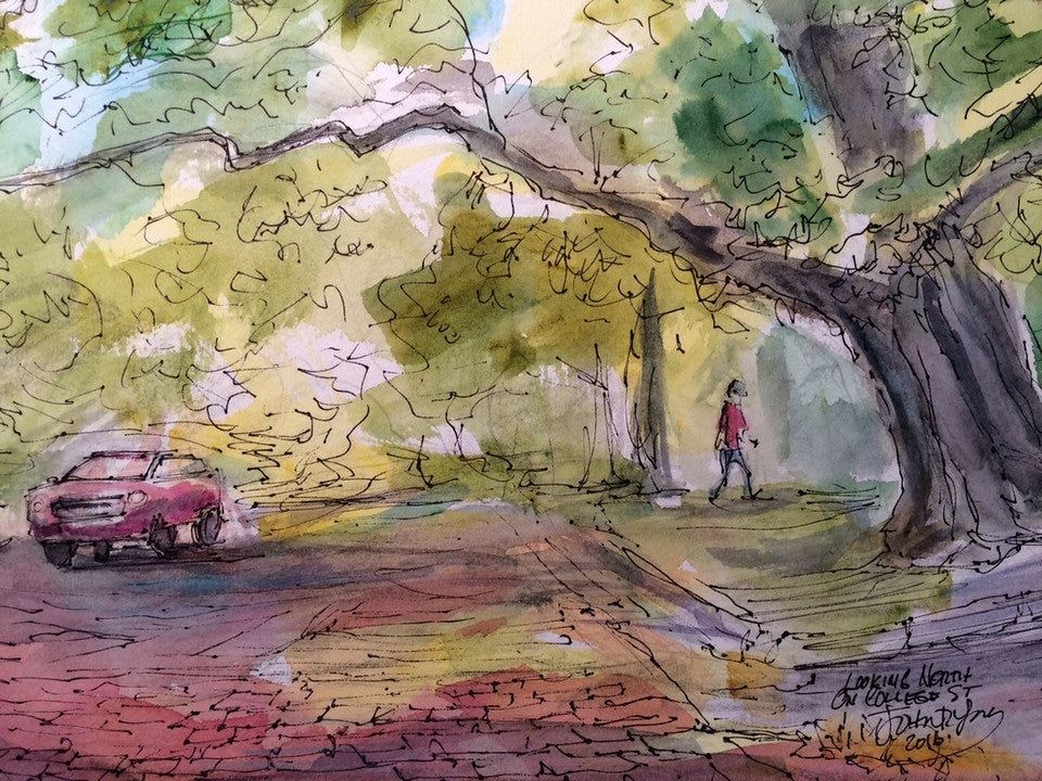 Looking North on College, John York, Texas Watercolorist, 10 x 14 inches,unframed