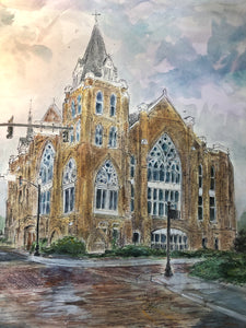 Artist Signed Print Marvin United Methodist Church by American Watercolor Artist John York, 11 x 17 inches