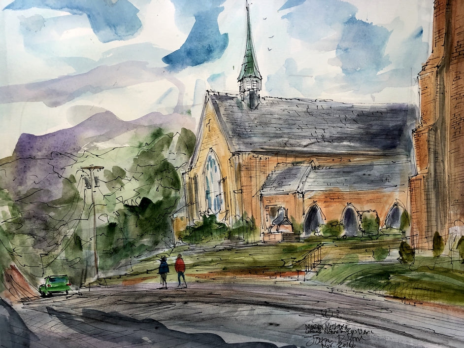 Marvin Methodist Chapel by John York Texas Watercolor Artist, 15 x 17 inches, Unframed