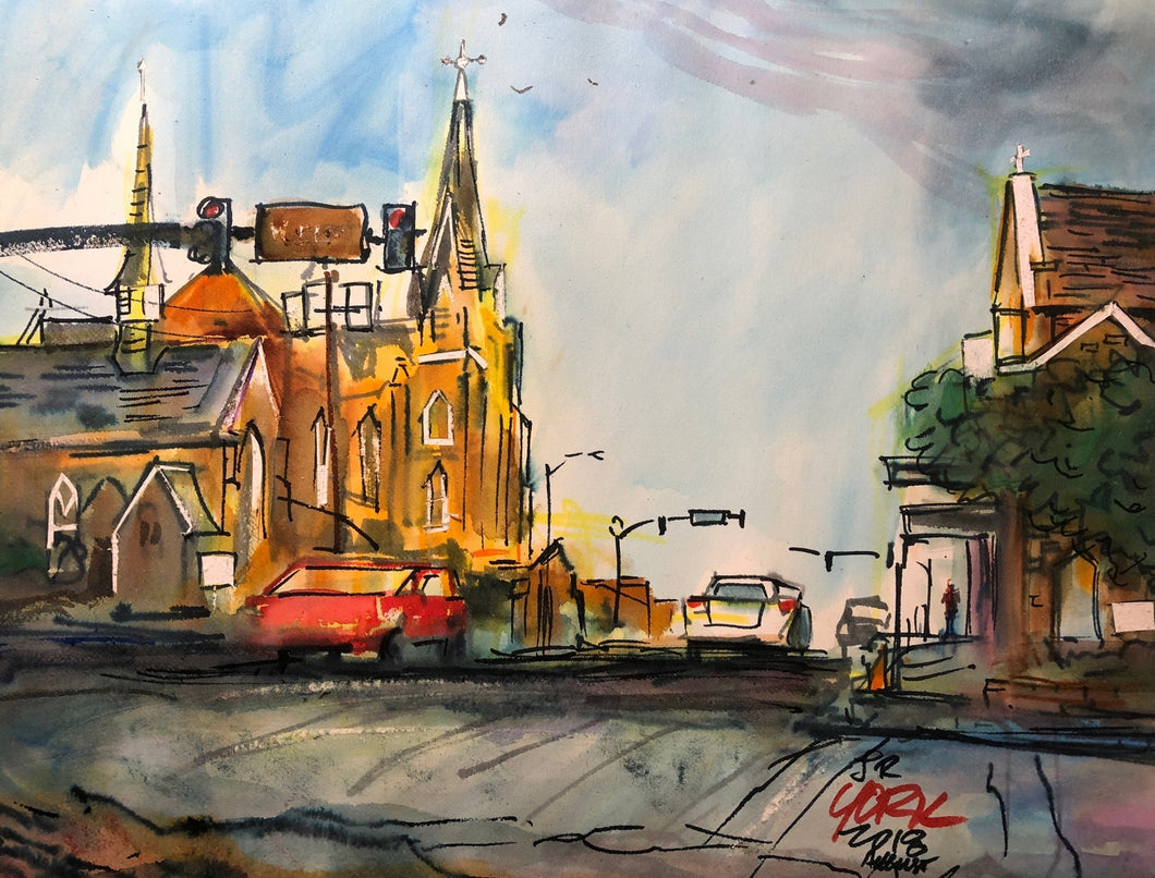 Marvin Methodist and Christ Church by Texas Watercolor Artist John York, 11 x 15 inches, unframed
