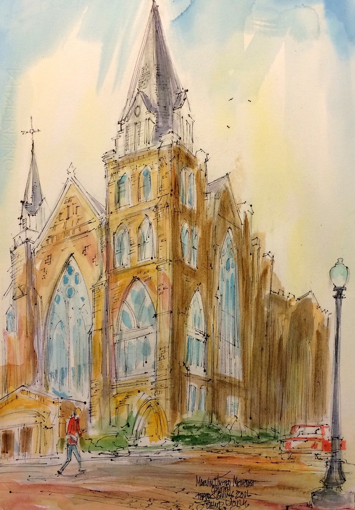 Marvin United Methodist Church, Thanksgiving 2016, Original Watercolor 14 x 20 inches