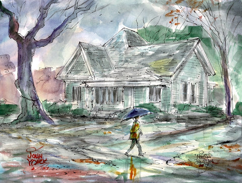"""More Rain"" Watercolor by Artist John York, 11 x 15 inches, unframed"