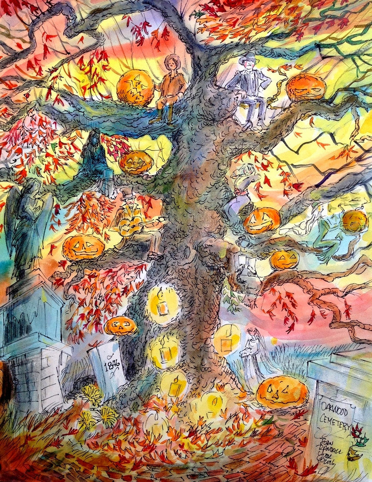 Oakwood Cemetery Stories, Halloween Tree by Texas Artist John York, 11 x 14 inches
