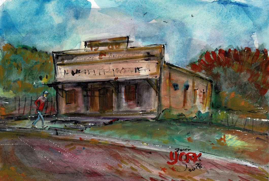 Old Progress Grocery Store, Watercolor, 7 1/2 x 11 inches, unframed