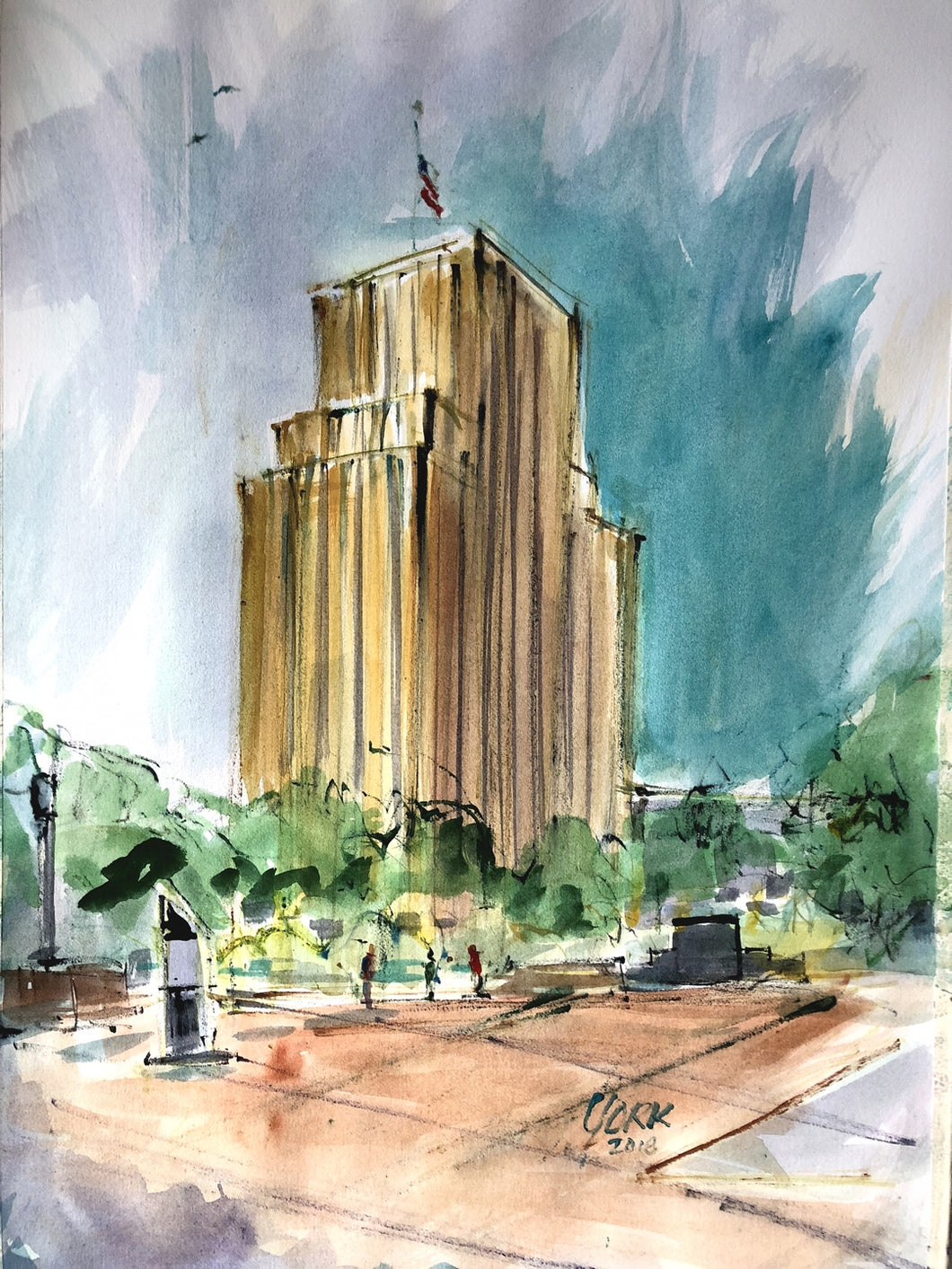 People's Petroleum Building, Texas Artist John York, Watercolor 12 x 18 inches