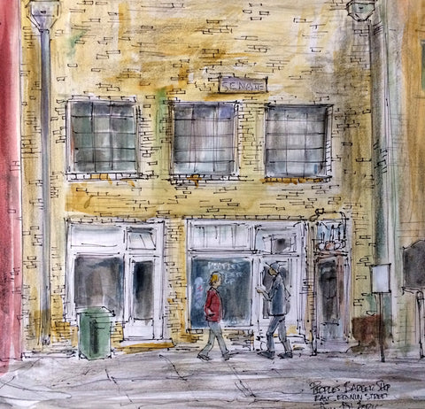 Peoples' Barber Shop by American Watercolorist John York, 14 x 14 inches, unframed