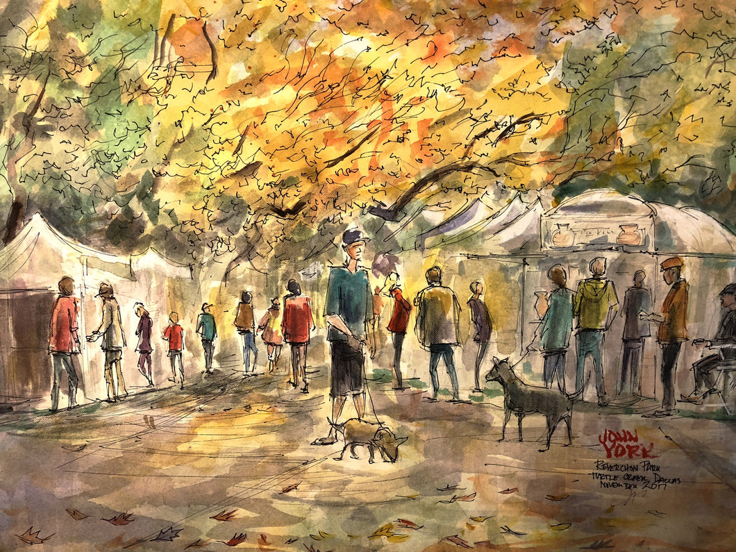 Reverchon Park Turtle Creek Fine Art Festival, Dallas Texas, Watercolor Artist John York,  15 x 22 inches, unframed