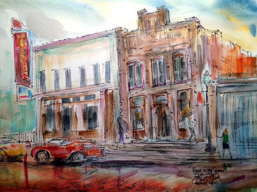 Rick's On The Square, Original Watercolor