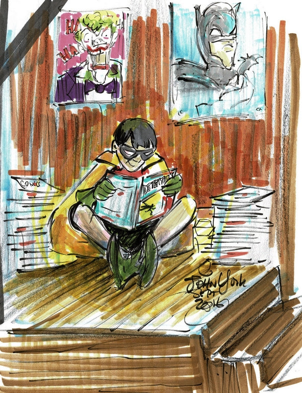 Comic Con Fun! ROBIN READING COMICS, Original Marker Sketch by John York, 8 1/2 x 11 inches