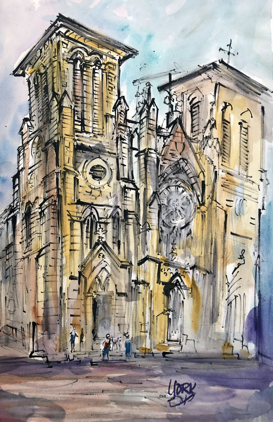San Fernando Cathedral by Texas Watercolor Artist John York, 15 x 22 inches, unframed