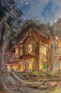 """Southern Christmas House"" Watercolor by Texas Artist John York, 10 x 14 inches , unframed"