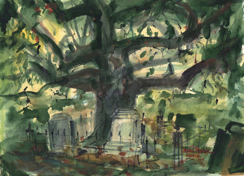 Spirit Tree by Texas Watercolor Artist John Randall York, 8 x 10 inches, unframed