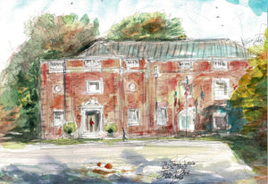 St. John's Lodge, Tyler Masonic Lodge, Watercolor by John York, 9 3/4 x 13 1/2 inches, unframed