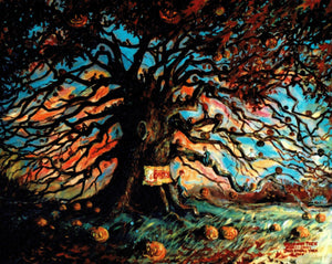 "Artist Signed Print, ""The Halloween Tree"" by American Artist John Randall York, 11 x 17 inches"