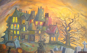 Gigantic, 5 x 8 foot HALLOWEEN HAUNTED MANSION   OIL on CANVAS American Artist John Randall York