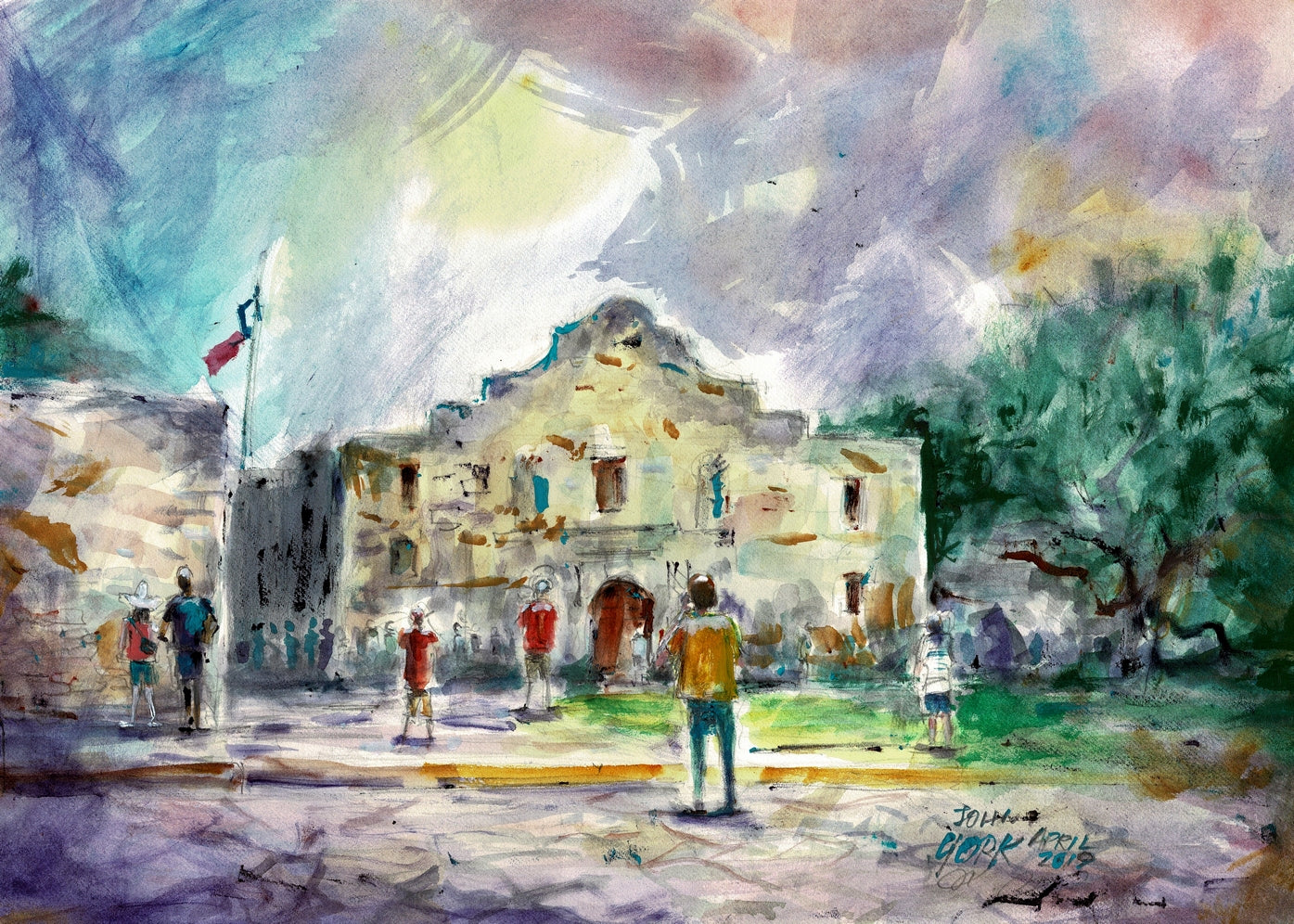 """The Alamo"" Texas Watercolor Artist, John York, 11 x 15 inches, unframed"