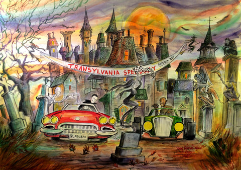 Transylvania Speedway Original Painting by American Watercolor Artist John Randall York, 22 x 30 inches, unframed