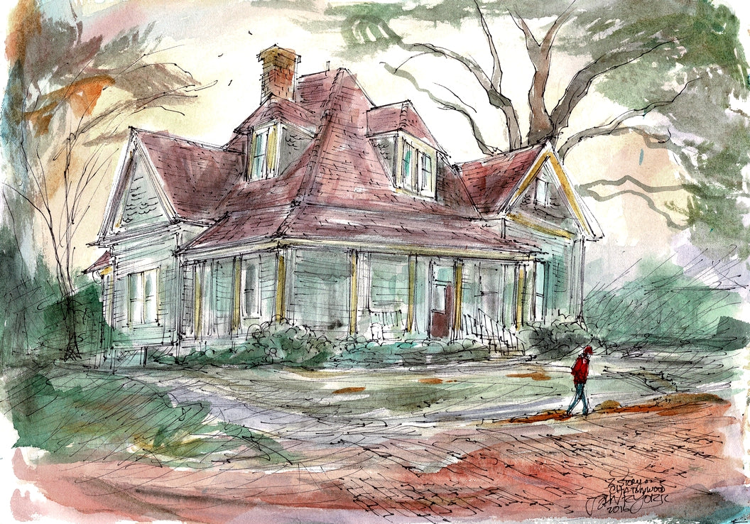 Charnwood District Two Story by John York, Watercolor, 11 x 15 inches, unframed