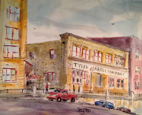"""Tyler Candle Company"", Original Watercolor, John York, 11 x 15 inches, unframed"