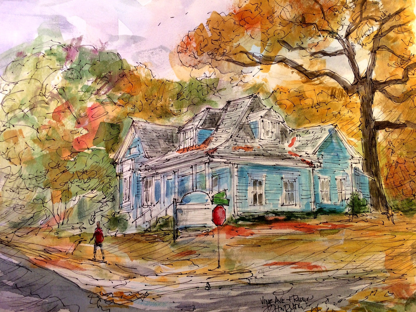 """Blue Farm House""  Original Painting by Texas Watercolor Artist, John York 11 x 14 inches, unframed"