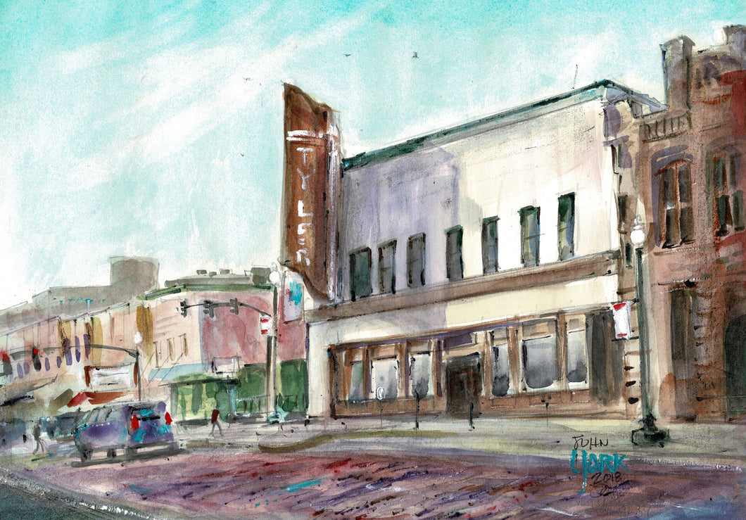 Texas Watercolor Artist John York, West Erwin and Broadway, Summer 2018, Watercolor, 11 x 15 inches, unframed