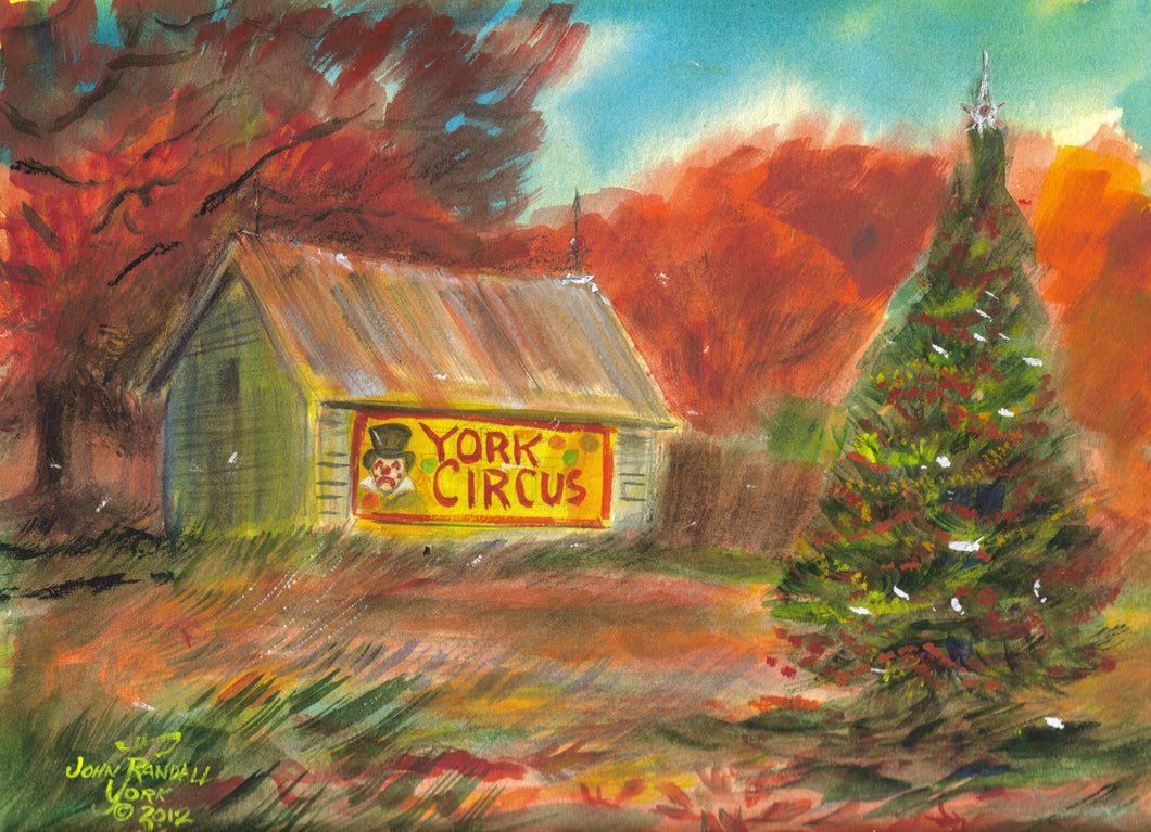 YORK CIRCUS BARN Original Watercolor 9 x 12 inches, unframed