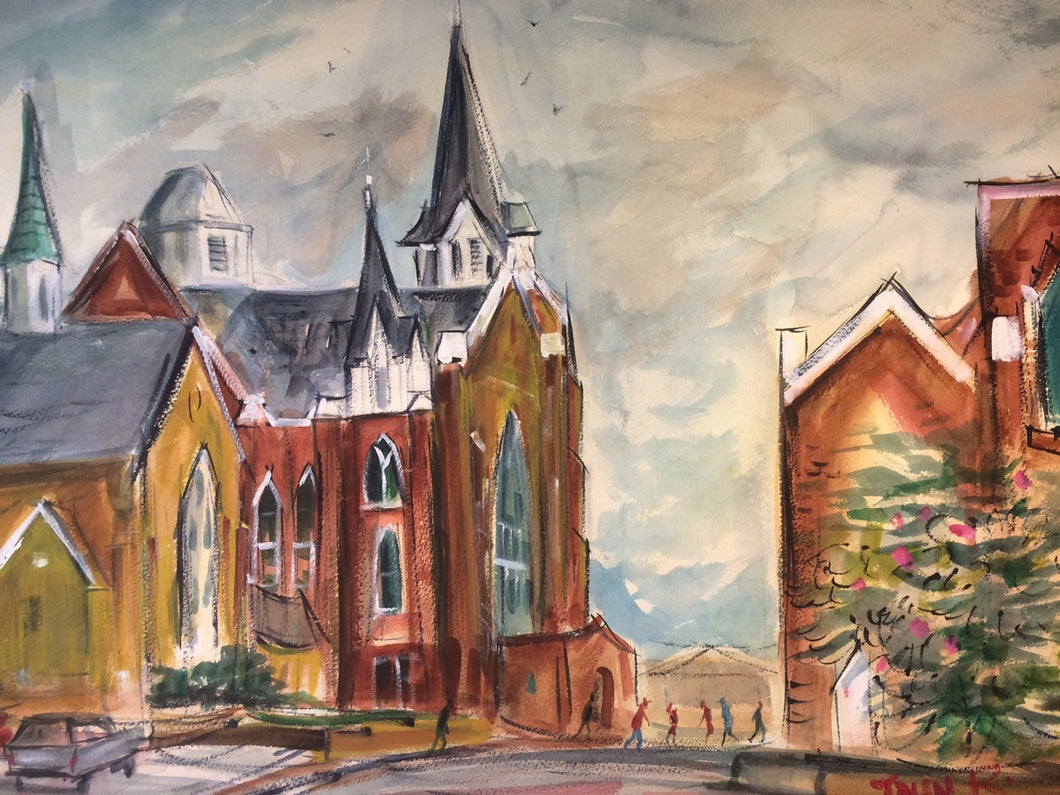 Big Marvin Methodist Church, Original Watercolor Painting by John Randall York
