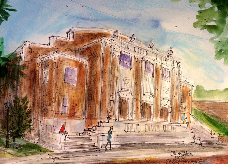 Old Tyler High / Caldwell Gym, Original Watercolor