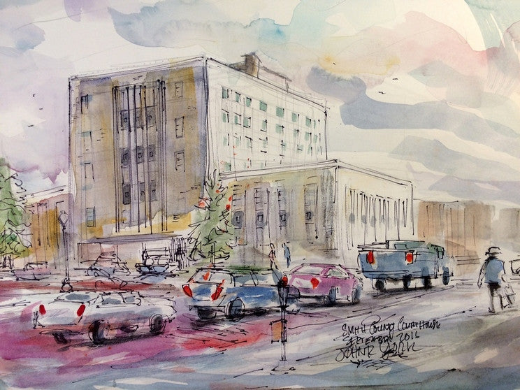 Smith County Court House, Original Watercolor