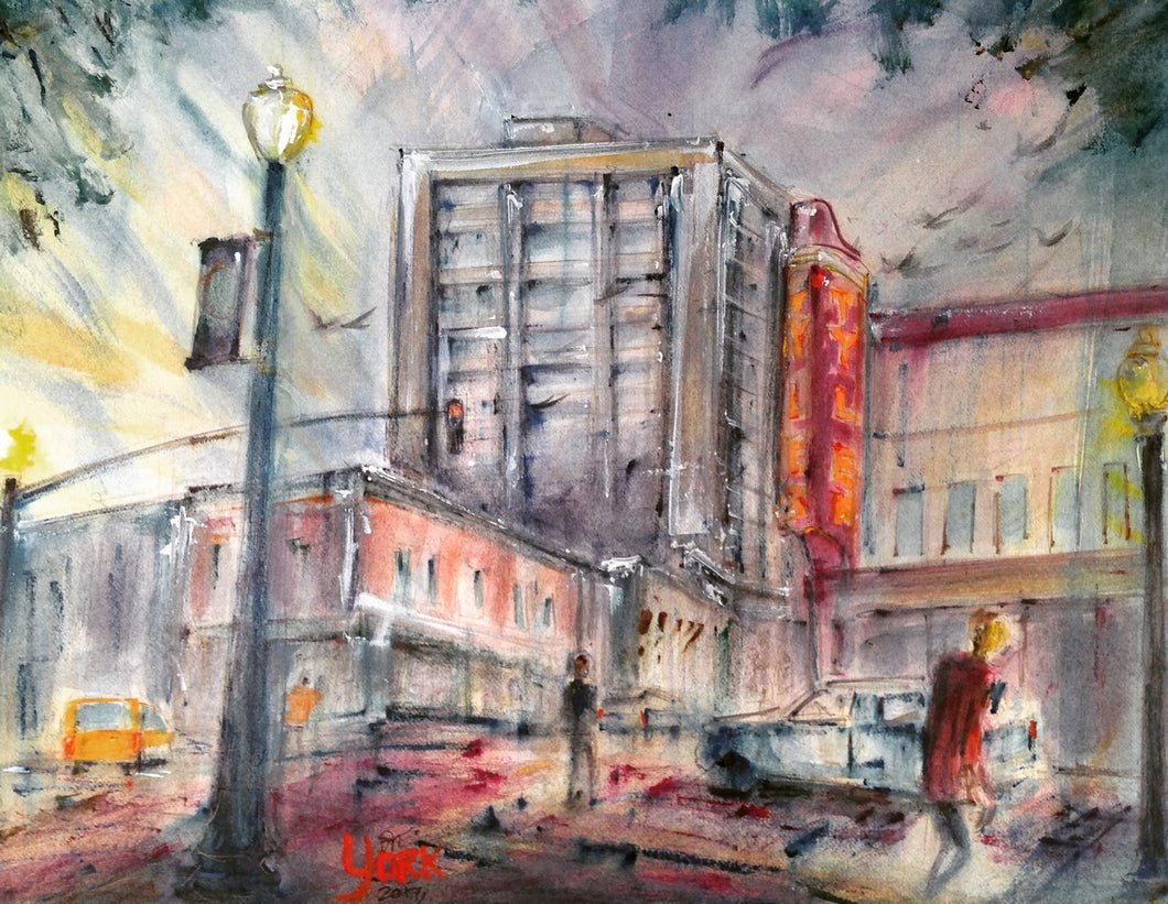 Downtown Tyler Broadway and E. Erwin, Original Watercolor by Texas Watercolor Artist John York, 11 x 15 inches, unframed