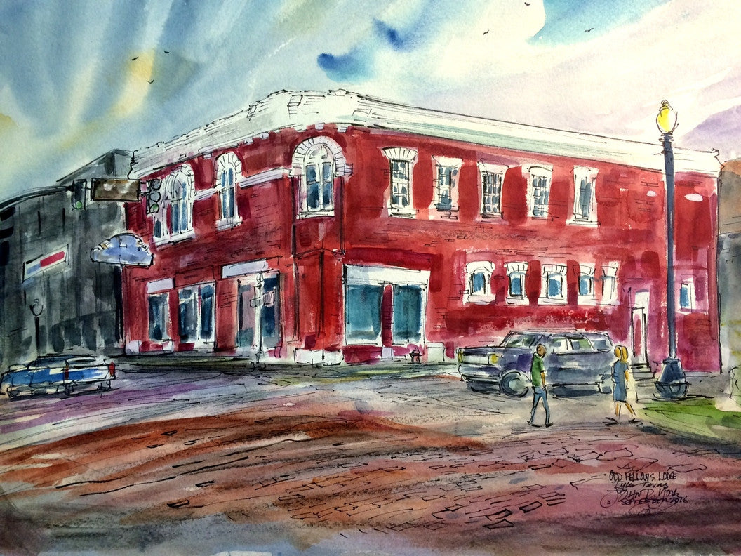 Odd Fellows Lodge Tyler, Texas, Original Watercolor by John York,15 x 22 inches, unframed