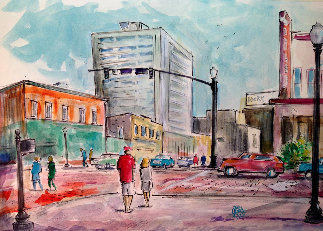 West Erwin Street and North Broadway, 15 x 22 inches, Original Watercolor