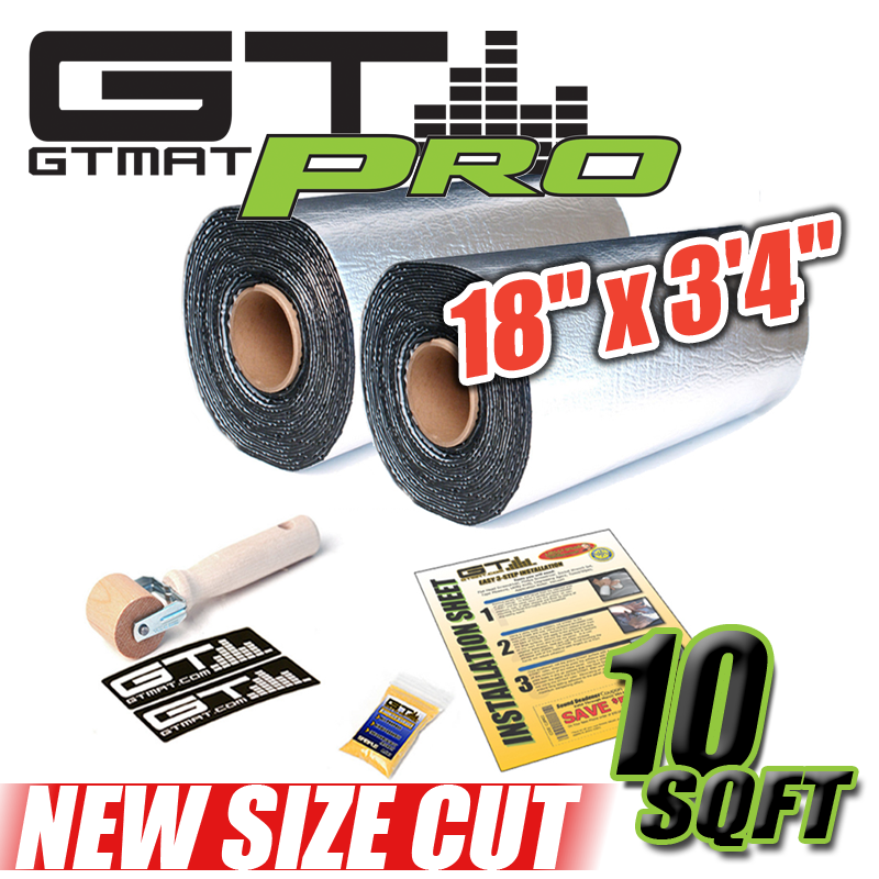 "NEW 10 SQ FT (2 cut 18""x3'4"") GTmat Pro 50mil Car Audio Sound Deadener"