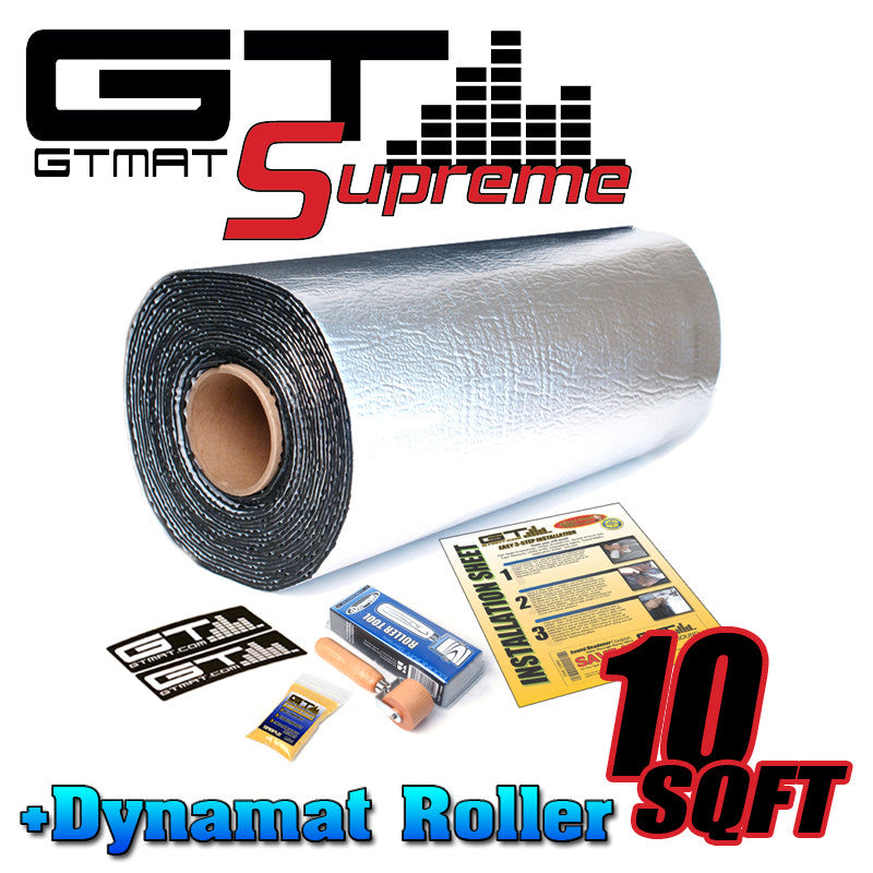 10 SQ FT GTMAT Supreme 110MIL Car Audio Sound Deadener with Dynamat Roller